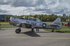 Vlucht dag 11 Mei, 2014 in Kjeller (airshow) Royalty-vrije Stock Fotografie