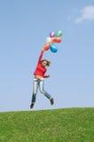 Vlucht door ballons Stock Fotografie