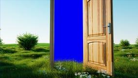 Vlucht door een open deur Portaal door aard Het groene scherm Realistische 4K animatie stock illustratie