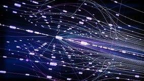 Vlucht door neon holografische cyberspace looped stock illustratie