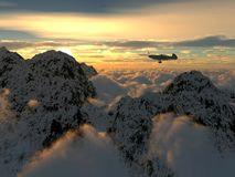 Vlucht over de wolken royalty-vrije stock afbeelding