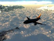 Vlucht over de wolken Stock Foto