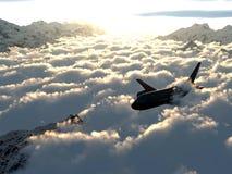 Vlucht over de wolken Stock Afbeelding