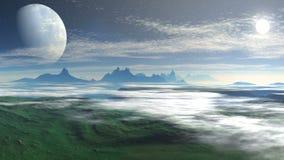 Vlucht over de wolken van vreemde planeet stock videobeelden