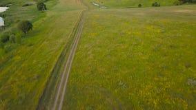 Vlucht over een lege weg in het platteland stock video