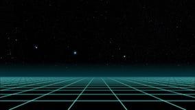 Vlucht over het net, de jaren '80 Retro sc.i-FI stock footage