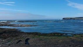 Vlucht over het rotsachtige strand van Kilkee Ierland stock footage