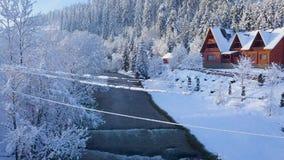 Vlucht over meisje het lopen langs een brug over een bergrivier dichtbij een berg met naaldbos in de winter wordt behandeld die stock video
