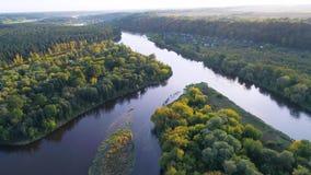 Vlucht over rivier en bos stock videobeelden