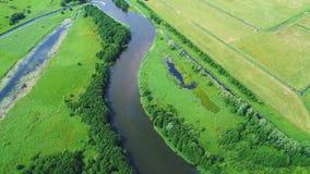 Vlucht over rivier in weiden stock videobeelden