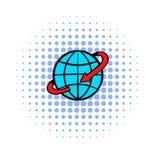 Vlucht rond het pictogram van de wereldstrippagina Stock Foto's