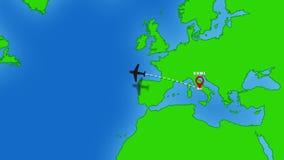 Vlucht van Rome tot New York stock footage