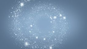 Vlucht van sneeuwvlokken in een spiraal stock videobeelden