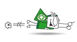 Vlucht van Super recyclerende held stock illustratie
