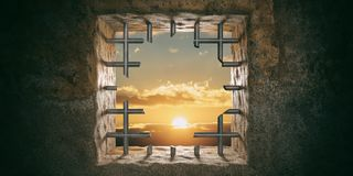 Vlucht, vrijheid Gevangenis, gevangenisvenster met gesneden bars, zonsondergang, zonsopgangmening 3D Illustratie royalty-vrije stock foto