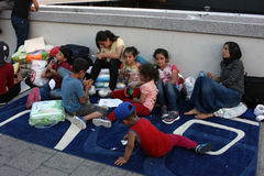 Vluchtelingen in Boedapest, Hongarije royalty-vrije stock fotografie