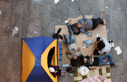 Vluchtelingen in Boedapest, Hongarije stock afbeeldingen