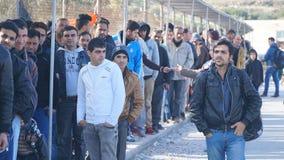 Vluchtelingen in het kamp stock fotografie