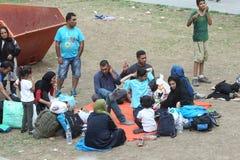 Vluchtelingen in Servië stock afbeeldingen
