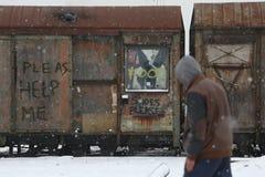 Vluchtelingen in Servië tijdens de winter Royalty-vrije Stock Afbeeldingen