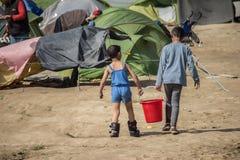Vluchtelingscrisis in Europa royalty-vrije stock foto