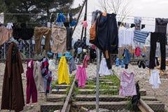 Vluchtelingskamp in Griekenland Stock Afbeelding