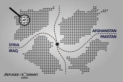 Vluchtelingslanden De illustratie omvat kaarten van Afghanistan, Syrië, Irak en Pakistan Royalty-vrije Stock Foto
