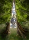 Vluchtroute aan magische wereld Royalty-vrije Stock Afbeeldingen