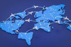 Vluchtroute met wereldkaart Royalty-vrije Stock Afbeelding