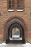 välvt snöig för passage Arkivfoto