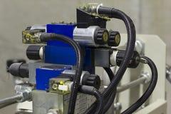 Válvulas electromagnéticas hidráulicas Imágenes de archivo libres de regalías