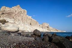 Vlychada海滩在圣托里尼 免版税图库摄影