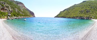Vlychada beach Lakonia Peloponnese Greece. Panoramic landscape of Vlychada beach Lakonia Peloponnese Greece stock photo