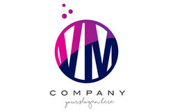 VM V M Circle Letter Logo Design avec Dots Bubbles pourpre Photo stock