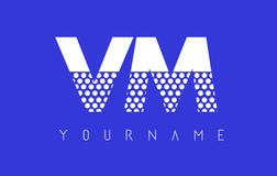 VM V M Dotted Letter Logo Design con el fondo azul Fotografía de archivo libre de regalías