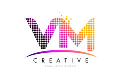 VM V M Letter Logo Design avec les points et le bruissement magenta illustration stock