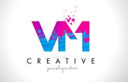 VM V M Letter Logo with Shattered Broken Blue Pink Texture Desig Royalty Free Stock Image