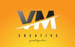 VM V M Letter Modern Logo Design avec le fond jaune et le Swoo illustration de vecteur