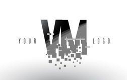 VM V M Pixel Letter Logo avec les places noires brisées par Digital Photographie stock libre de droits
