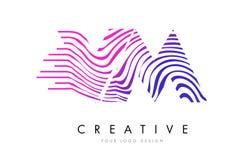 VM V M Zebra Lines Letter Logo Design avec des couleurs magenta Photographie stock