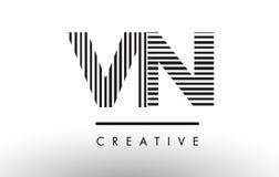 VN V N Black and White Lines Letter Logo Design. Royalty Free Stock Images