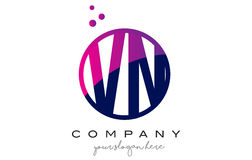 VN V N Circle Letter Logo Design with Purple Dots Bubbles Stock Photography