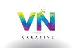 VN V N Colorful Letter Origami Triangles Design Vector. Stock Images