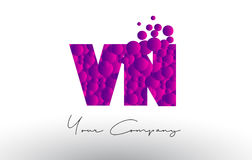 VN V N Dots Letter Logo with Purple Bubbles Texture. Stock Photo