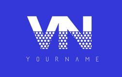 VN V N Dotted Letter Logo Design with Blue Background. Royalty Free Stock Image