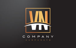 VN V N Golden Letter Logo Design with Gold Square and Swoosh. Royalty Free Stock Images