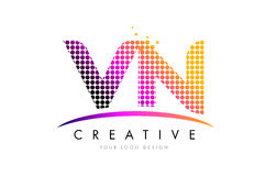 VN V N Letter Logo Design with Magenta Dots and Swoosh Royalty Free Stock Photos
