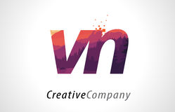 VN V N Letter Logo Design with Purple Forest Texture Flat Vector Stock Images