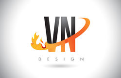 VN V N Letter Logo with Fire Flames Design and Orange Swoosh. Royalty Free Stock Image