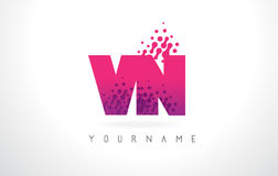 VN V N Letter Logo with Pink Purple Color and Particles Dots Des Stock Images